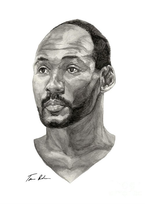 Karl Malone Greeting Card featuring the painting Karl Malone by Tamir Barkan