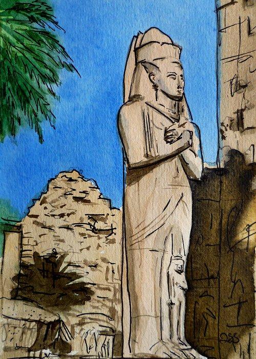 Karnak Temple Greeting Card featuring the painting Karnak Temple Egypt by Irina Sztukowski