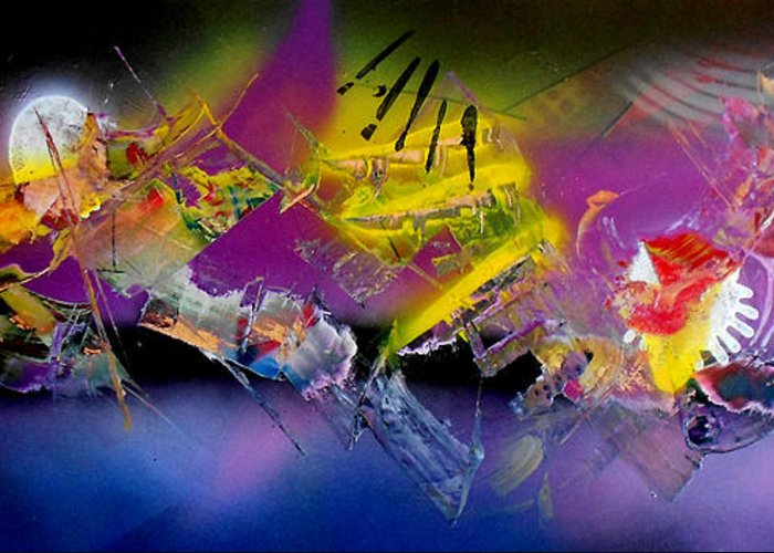 Abstract Greeting Card featuring the painting Keiko by Jim Hanson
