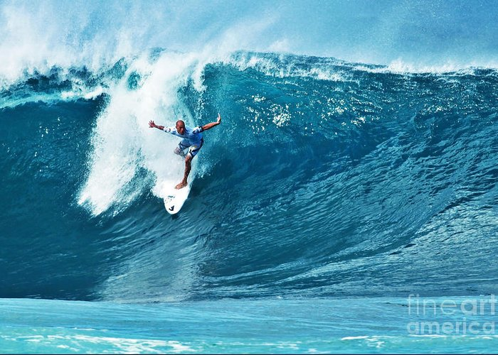 Kelly Slater Greeting Card featuring the photograph Kelly Slater At Pipeline Masters Contest by Paul Topp