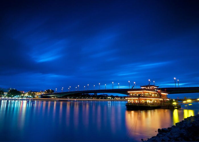 Blue Hour Greeting Card featuring the photograph Kennedy Bridge - Bonn by Andre Distel