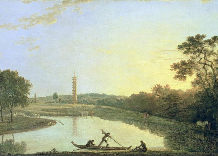 Kew Greeting Card featuring the painting Kew Gardens - The Pagoda And Bridge by Richard Wilson