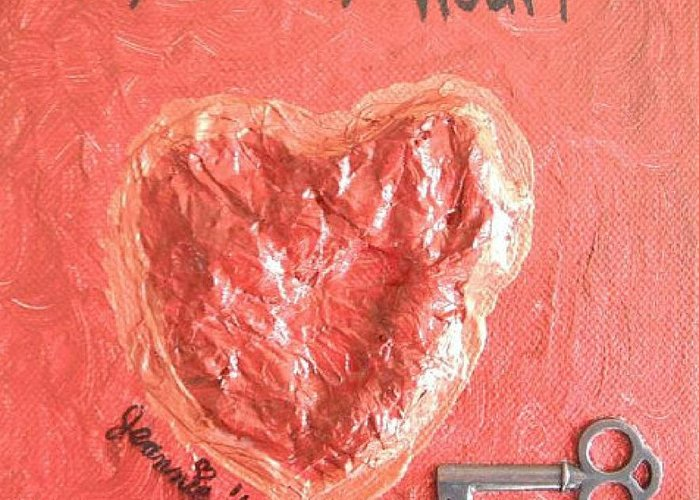 Heart Greeting Card featuring the painting Key To My Heart by Jeannie Atwater Jordan Allen
