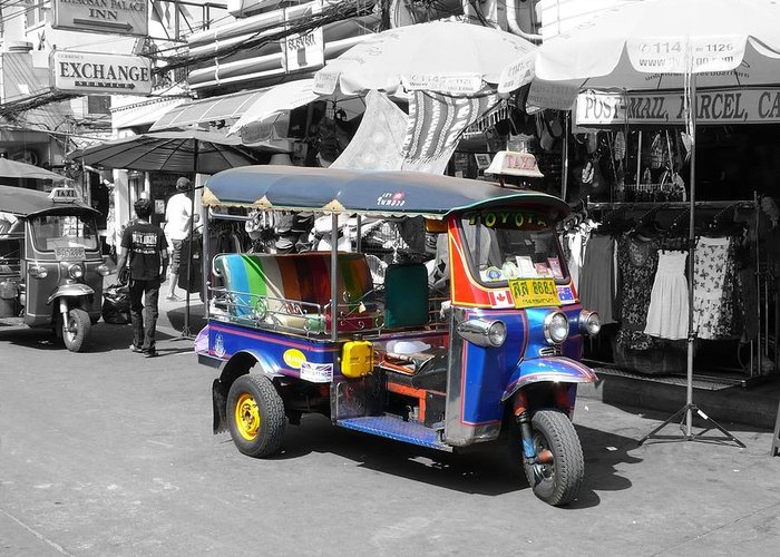 Tuk Greeting Card featuring the photograph Khaosan Road Tuk Tuk by Gregory Smith