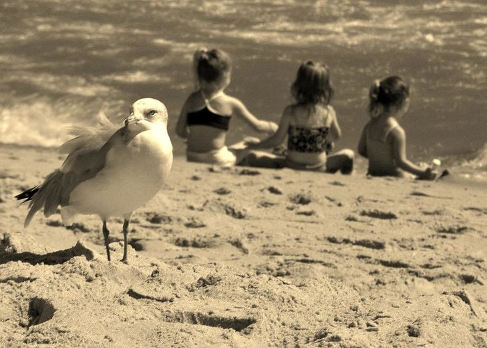 Sepia Greeting Card featuring the photograph Kids On The Beach - Sepia by Paulette Thomas
