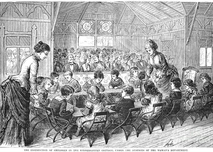 1876 Greeting Card featuring the photograph Kindergarten, 1876 by Granger