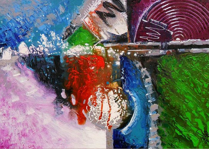 Abstract Greeting Card featuring the painting Kinetic Afterlife by Skye Taylor