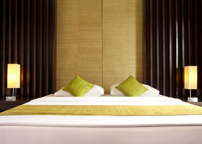 Hotel Greeting Card featuring the photograph King Size Bed by Atiketta Sangasaeng