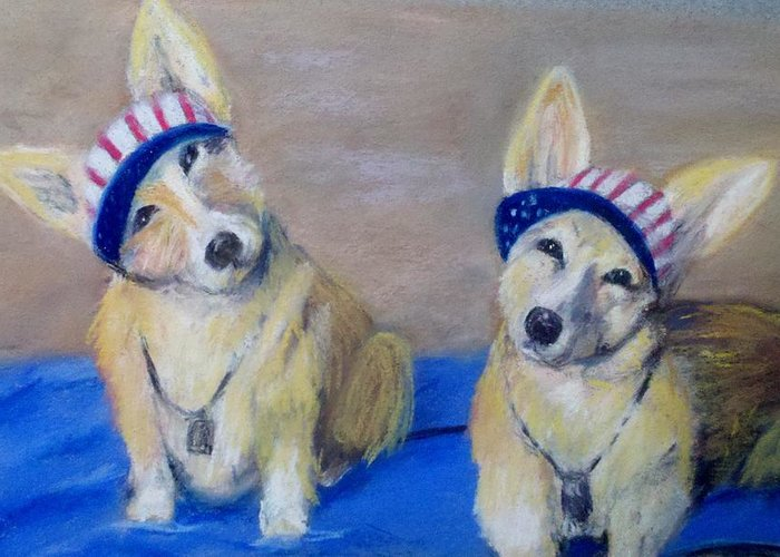 Dogs Greeting Card featuring the painting Kipper And Tristan by Trudy Morris