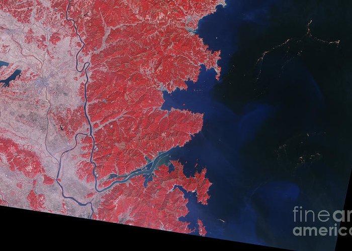 Japan Greeting Card featuring the photograph Kitakami River, Japan, After Tsunami by National Aeronautics and Space Administration