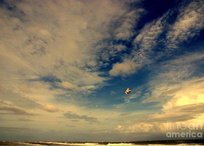 Kite Sport Greeting Card featuring the photograph Kite At Folly Beach Near Charleston Sc by Susanne Van Hulst