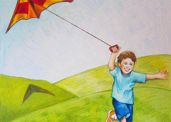Kite Greeting Card featuring the drawing Kite Flying Fun by Nicole McKeever