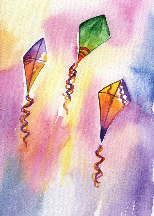 Kites Greeting Card featuring the painting Kite Rockets by Lydia Irving