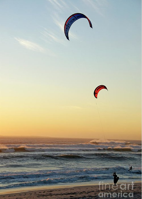 South African Greeting Card featuring the photograph Kite Surfers On Beach At Sunset by Sami Sarkis