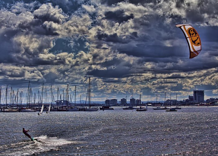 Kite Surfing Greeting Card featuring the photograph Kite Surfing At St Kilda Beach by Douglas Barnard