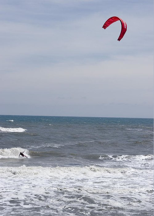 Kiteboarding Greeting Card featuring the photograph Kiteboarder With Kite In The Waves by Skip Brown