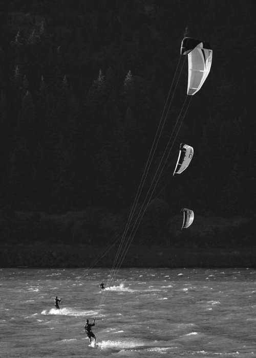 Sports Greeting Card featuring the photograph Kiteboarders In The Columbia River by Skip Brown