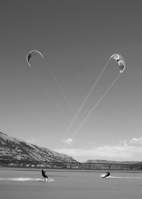 Sports Greeting Card featuring the photograph Kiteboarding Symmetry by Skip Brown