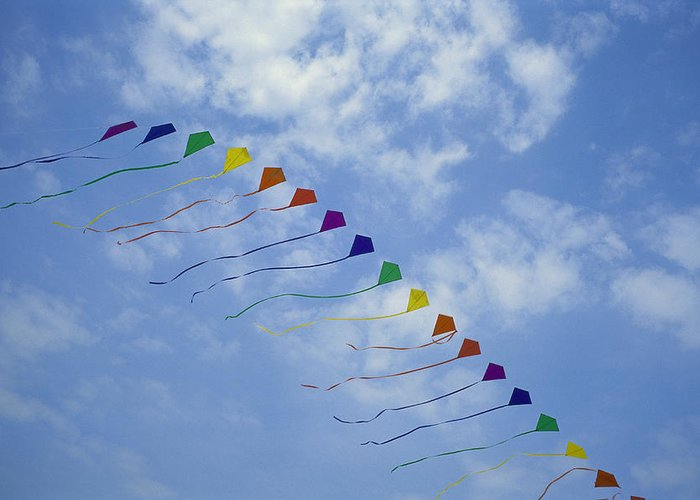 North America Greeting Card featuring the photograph Kites Fly In A Rainbow Of Colors by Stephen Alvarez