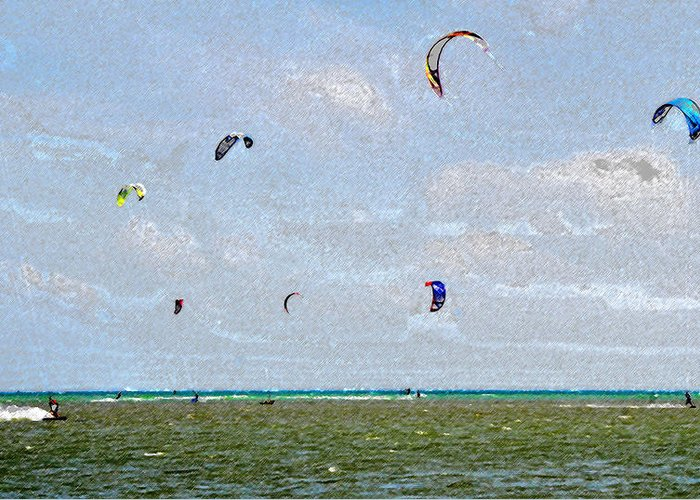 Art Greeting Card featuring the painting Kites Over The Bay by David Lee Thompson