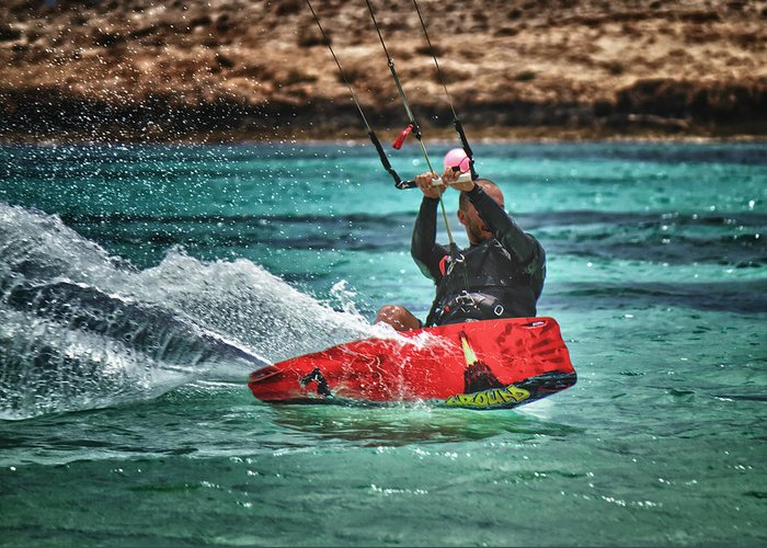 Action Greeting Card featuring the photograph Kitesurfer by Stelios Kleanthous