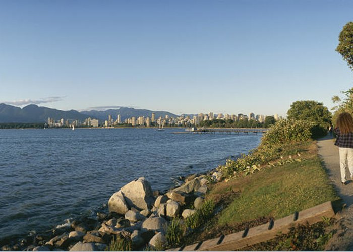 North America Greeting Card featuring the photograph Kitsilano Beach And Vancouver Skyline by Michael S. Lewis