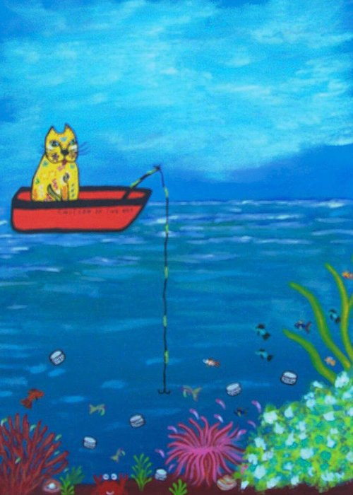 Cat Greeting Card featuring the painting Kittyboy Goes Deep Sea Fishing by Marilyn Ferguson