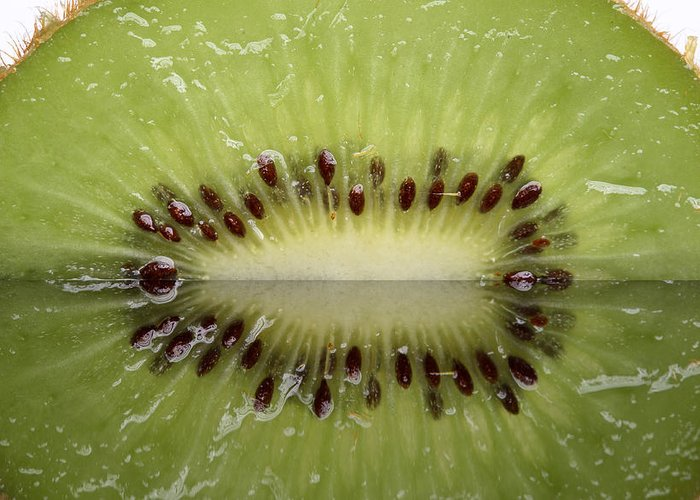 Kiwi Greeting Card featuring the photograph Kiwi Fruit Reflected On Glass by Mark Duffy