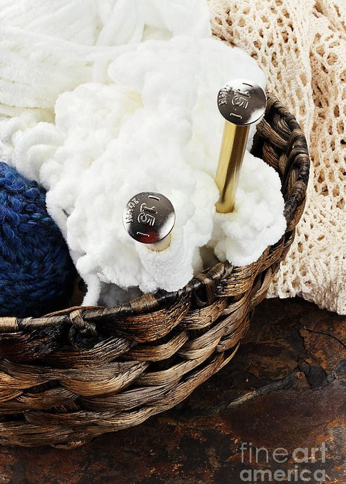 Knitting Greeting Card featuring the photograph Knitting Needles by Stephanie Frey