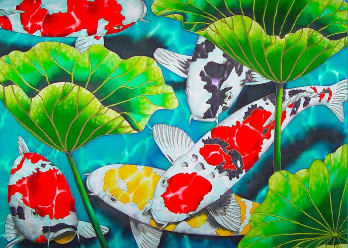 Koi Greeting Card featuring the painting Koi And Lotus by Daniel Jean-Baptiste