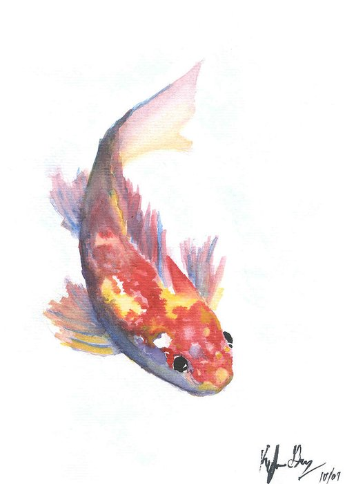 Koi Greeting Card featuring the painting Koi by Kyle Gray