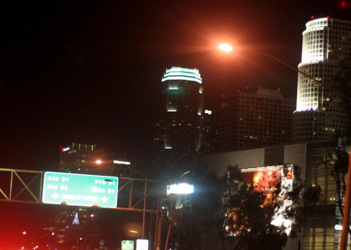 Los Angeles Greeting Card featuring the photograph La At Night by Mille Kedlaw