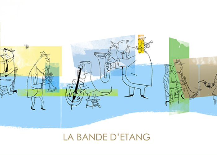 Music Greeting Card featuring the digital art La Bande D'etang by Sean Hagan