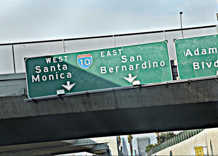 Libra.love.freedom Greeting Card featuring the photograph La Freeway by D Wash