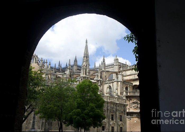 Cathedral Greeting Card featuring the photograph La Giralda Seville by Perry Van Munster