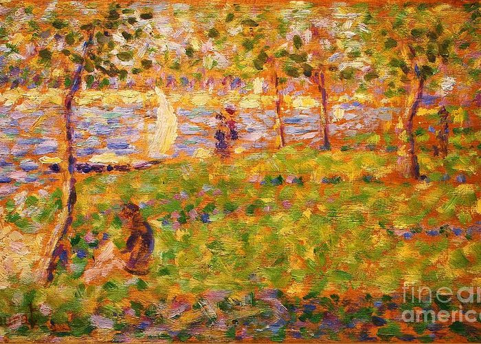 Pd Greeting Card featuring the painting La Grande Jatte by Pg Reproductions