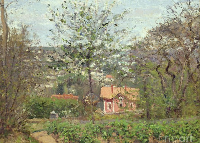 Camille Greeting Card featuring the painting La Maison Rose by Camille Pissarro