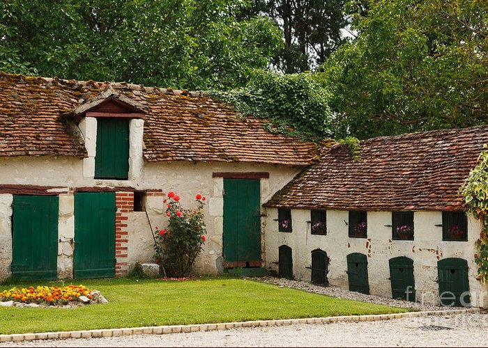 La Pillebourdiere Greeting Card featuring the photograph La Pillebourdiere Old Farm Outbuildings In The Loire Valley by Louise Heusinkveld