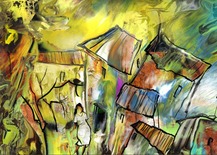 Provence Village Drawings Greeting Cards