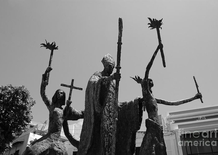 Old San Juan Greeting Card featuring the photograph La Rogativa Statue Old San Juan Puerto Rico Black And White by Shawn O'Brien
