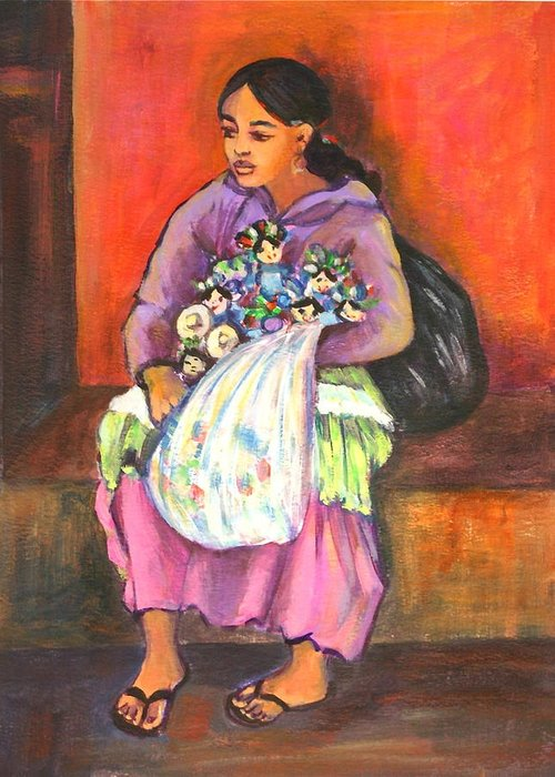 Portrait Greeting Card featuring the painting La Vendedora by Susan Santiago