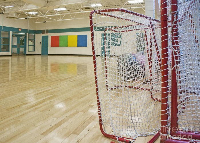 Auditorium Greeting Card featuring the photograph Lacrosse Goals In A Gymnasium by Marlene Ford