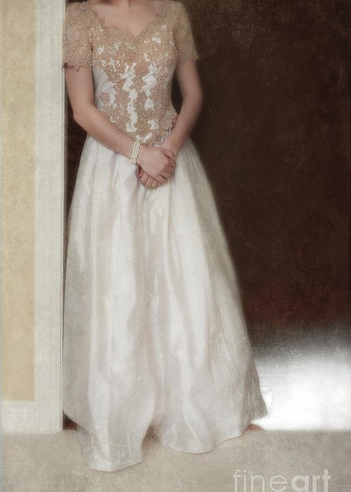 Beautiful Greeting Card featuring the photograph Lacy In Ecru Lace Gown by Jill Battaglia
