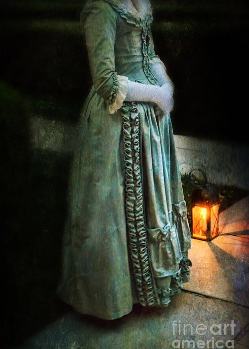 Lady Greeting Card featuring the photograph Lady By Lantern Light by Jill Battaglia