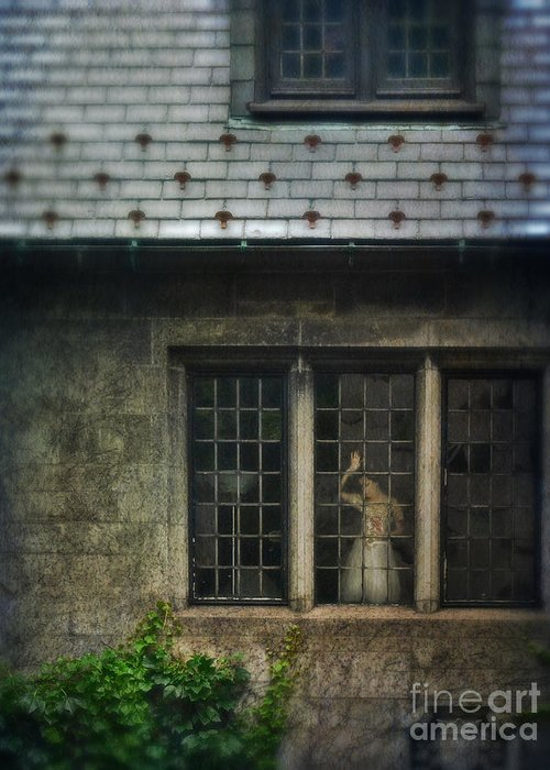 Beautiful Greeting Card featuring the photograph Lady By Window Of Tudor Mansion by Jill Battaglia