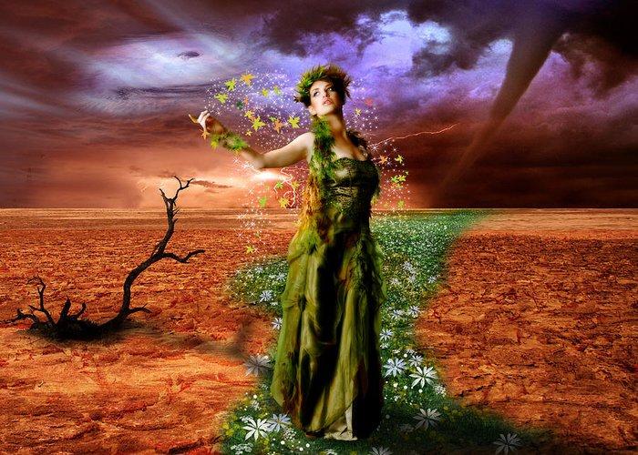 Lady Greeting Card featuring the digital art Lady Gaia by Julie L Hoddinott