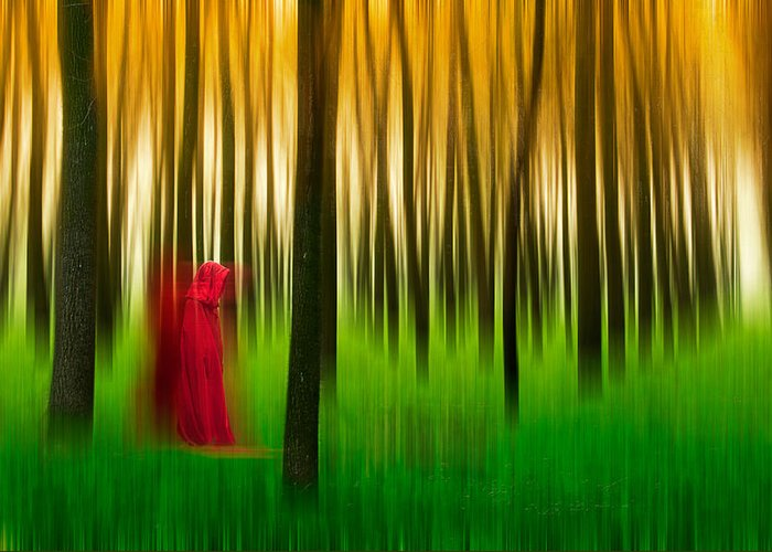 Trees Greeting Card featuring the photograph Lady In Red - 3 by Okan YILMAZ