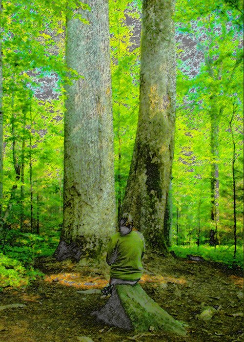 Art Greeting Card featuring the painting Lady In The Woods by David Lee Thompson