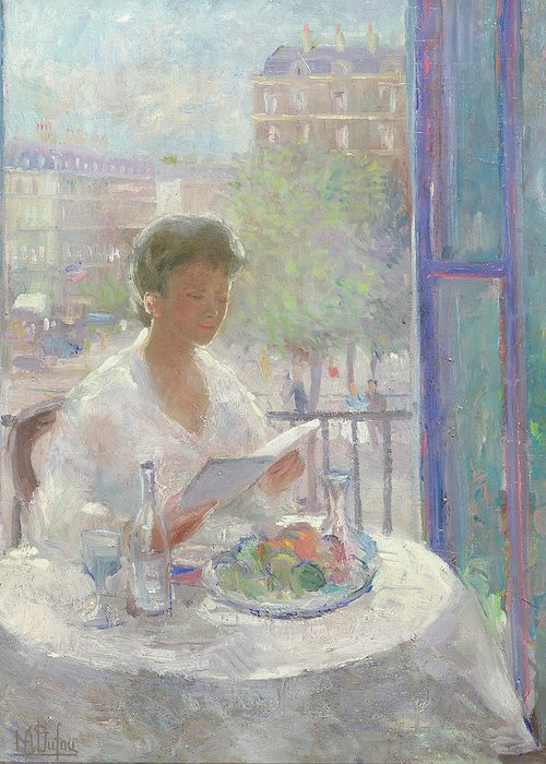 Reading Greeting Card featuring the painting Lady Reading At An Open Window by Clementine Helene Dufau