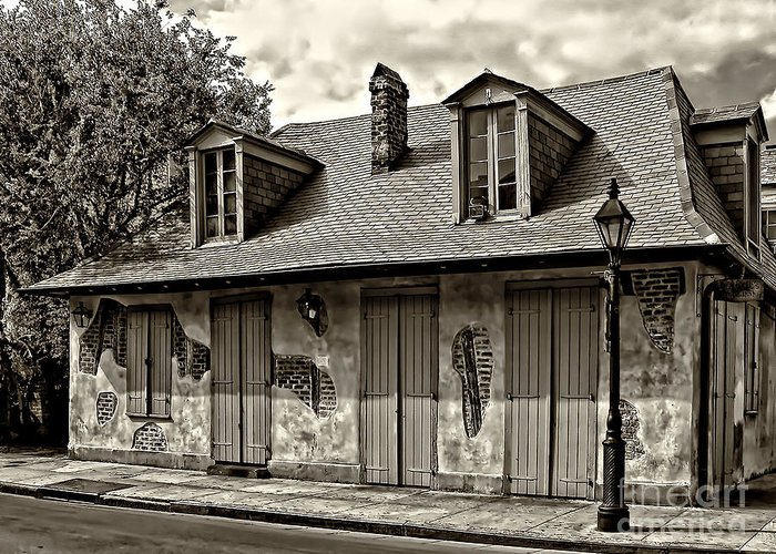 Lafittes Greeting Card featuring the photograph Lafittes Blacksmith Shop Bar In Sepia by Kathleen K Parker
